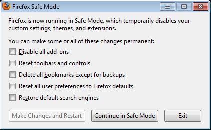 Safe Mode in Firefox - Screenshot